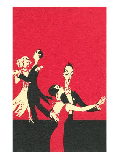 Two Couples Ballroom Dancing--Art Print