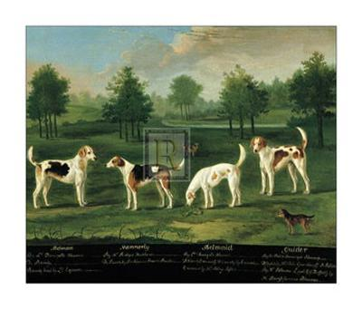Two Couples of Hounds in a Park-Francis Sartorius-Art Print
