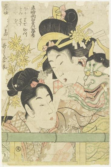 Two Courtesans in the Roles of Koi-Shigure Momiji No Rodai, 1781-1806-Kitagawa Utamaro-Giclee Print