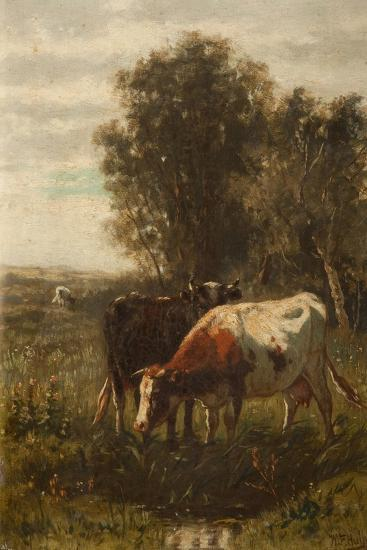 Two Cows in a Landscape-William Frederick Hulk-Giclee Print