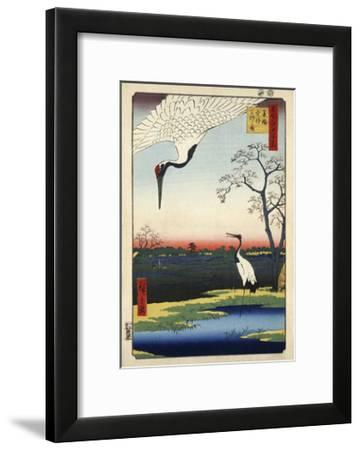 Two Cranes from Meisho Yedo Hiakkei (One Hundred Famous Views of Edo)-Ando Hiroshige-Framed Giclee Print