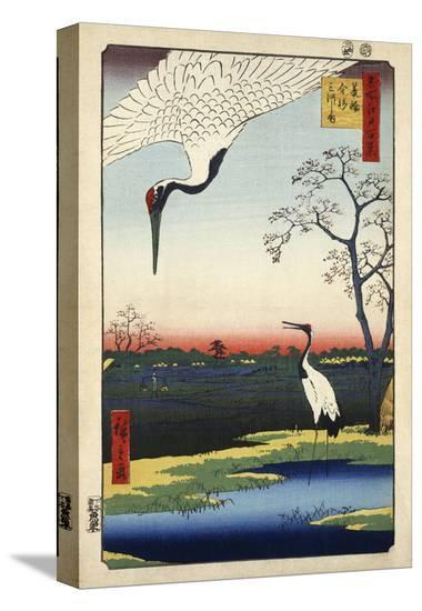 Two Cranes from Meisho Yedo Hiakkei (One Hundred Famous Views of Edo)-Ando Hiroshige-Stretched Canvas Print