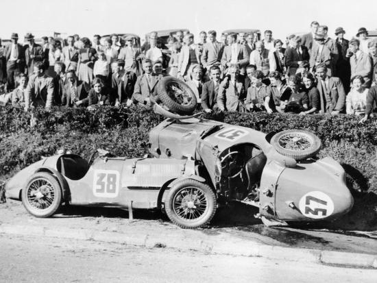 Two Crashed Cars from the Singer Nine Team, Possibly at a Ttrace, 1935--Photographic Print