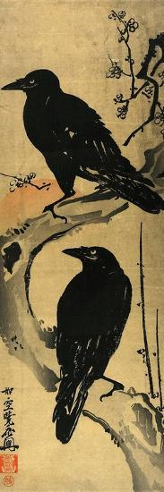 Two Crows on a Plum Branch with Rising Sun-Kyosai Kawanabe-Giclee Print