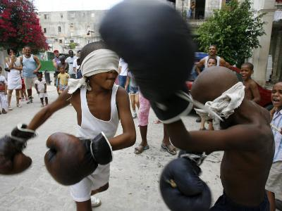 Two Cuban Boys Show Their Boxing Skills--Photographic Print