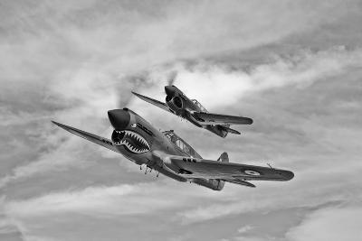 Two Curtiss P-40 Warhawks in Flight Near Nampa, Idaho--Photographic Print