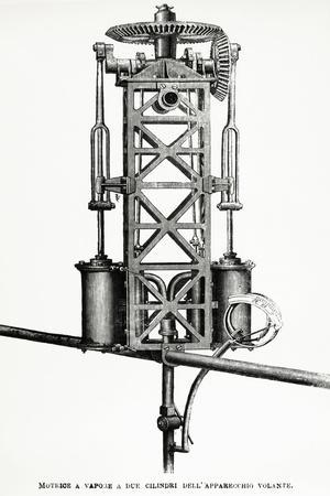 Two Cylinder Steam Engine Of A Helicopter By Enrico Forlanini 1848