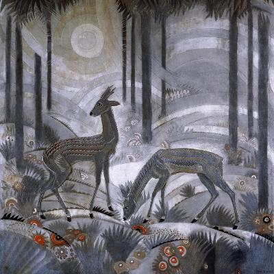 Two Deer in a Forest, C.1929-Jean Dunand-Giclee Print
