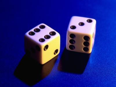 Two Dice on Blue Background-Jim McGuire-Photographic Print