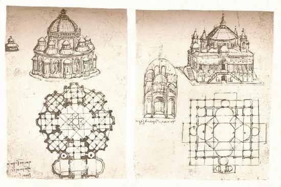 Two drawings of churches, c1472-c1519 (1883)-Leonardo da Vinci-Giclee Print