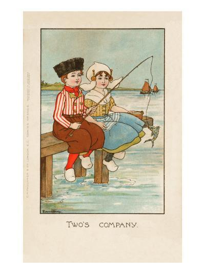 Two Dutch Children Sit on a Pier and Fish as Ships Sail in the Distance--Giclee Print