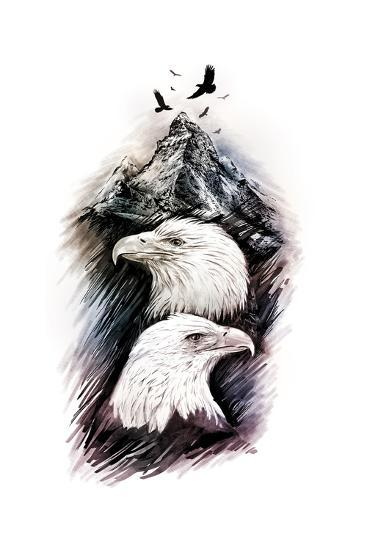 Two Eagles among Mountains. Graphic Drawing.-MargaritaSh-Art Print