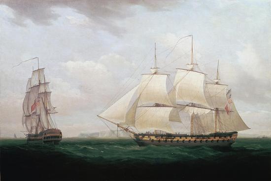 Two East Indiamen Off a Coast, Thomas Whitcombe, C1850-Thomas Whitcombe-Giclee Print
