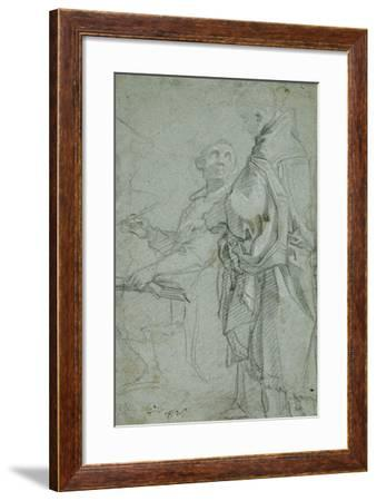 Two Ecclesiastics: Study for the Disputation on the Holy Sacrament, 1606-10-Francesco Vanni-Framed Giclee Print