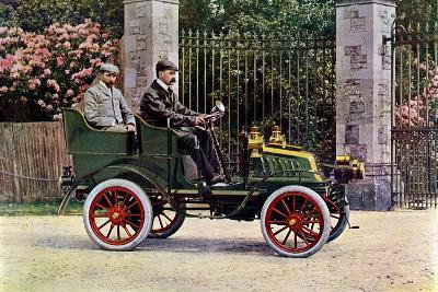Two Edwardian Gentlemen Sitting in a Motor Car, 1902-1903-John & Son Swan-Giclee Print