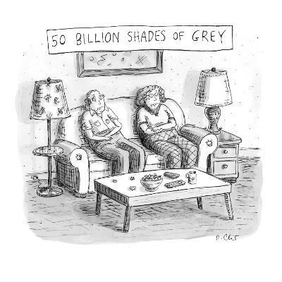 Two elderly individuals sitting on couch in living room. - New Yorker Cartoon-Roz Chast-Premium Giclee Print
