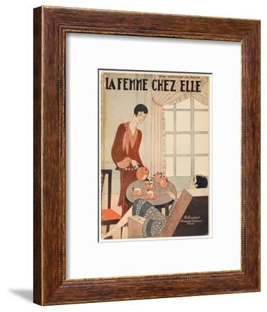 Two Elegant Women Enjoy a Cup of Tea at Five O'Clock--Framed Giclee Print