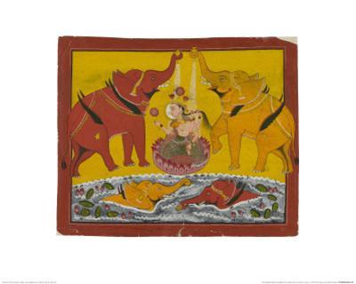Two Elephants Bathing Gaja Lakshmi