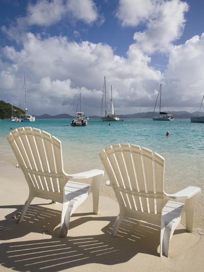 Two Empty Beach Chairs on Sandy Beach on the Island of Jost Van Dyck in the British Virgin Islands-Donald Nausbaum-Photographic Print
