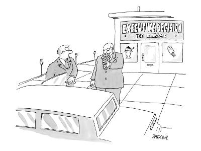 Two executives eat ice cream outside an ice cream shop.  - New Yorker Cartoon-Jack Ziegler-Premium Giclee Print