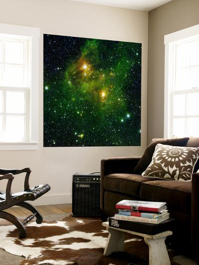 Two Extremely Bright Stars Illuminate a Greenish Mist in Deep Space-Stocktrek Images-Wall Mural
