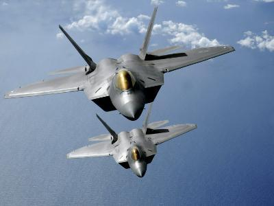 Two F-22 Raptors Fly over the Pacific Ocean-Stocktrek Images-Photographic Print