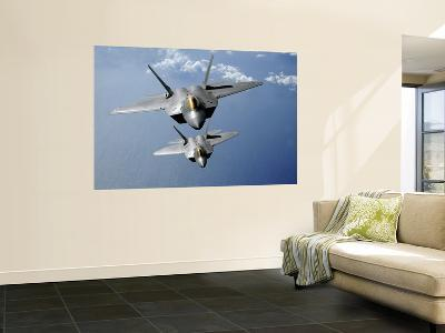 Two F-22 Raptors Fly over the Pacific Ocean--Wall Mural