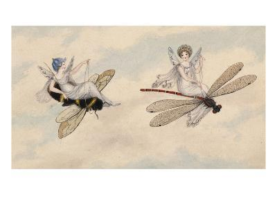 Two Fairies Flying Through the Air, One Seated on a Bee and the Other on a Dragonfly-Amelia Jane Murray-Premium Giclee Print