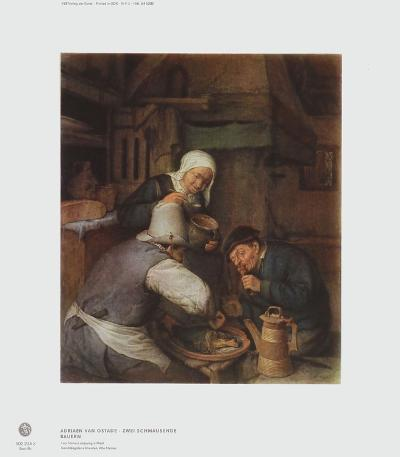 Two Farmers Enjoying a Meal-Adriaen Ostade-Collectable Print