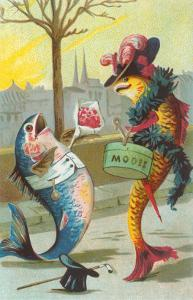 Two Fashionable Fish Meet on the Street