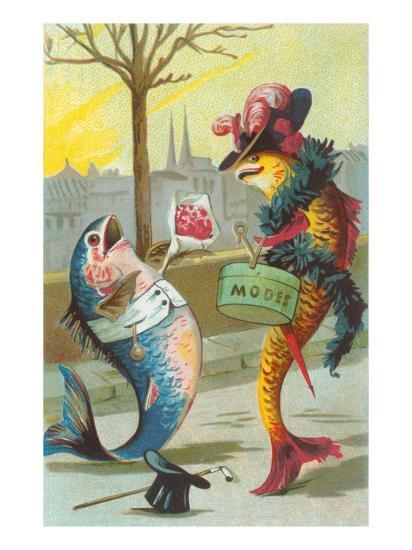 Two Fashionable Fish Meet on the Street--Art Print
