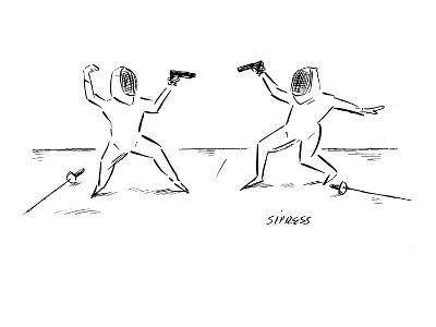Two fencers have laid down their swords and are prepared to duel with guns? - New Yorker Cartoon-David Sipress-Premium Giclee Print