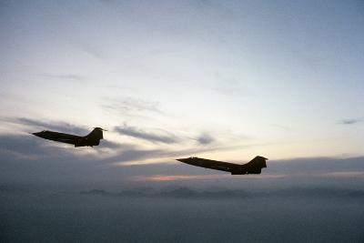 Two Fighter Planes Lockheed F-104 Starfighter in Flight--Photographic Print