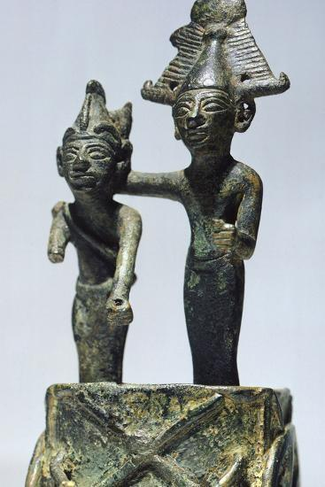 Two Figures on Cart, Bronze Artifact from Tortosa--Photographic Print