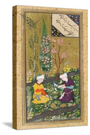 Two Figures Reading and Relaxing in an Orchard, circa 1540-50