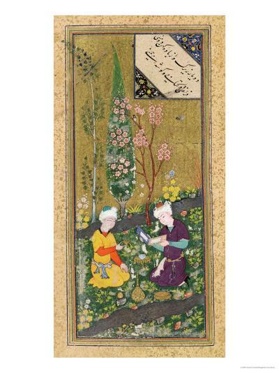 Two Figures Reading and Relaxing in an Orchard, circa 1540-50--Giclee Print
