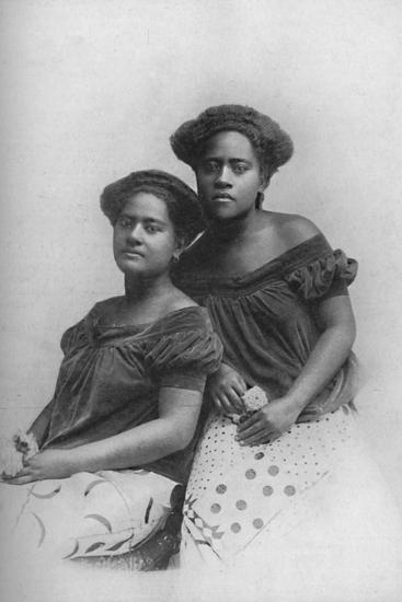 Two Fijian princesses with the hair dressed in European style, 1902-Unknown-Photographic Print