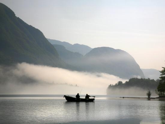 Two Fishermen in Boat on Lake Bohinj (Bohinjsko Jezero)-Ruth Eastham & Max Paoli-Photographic Print