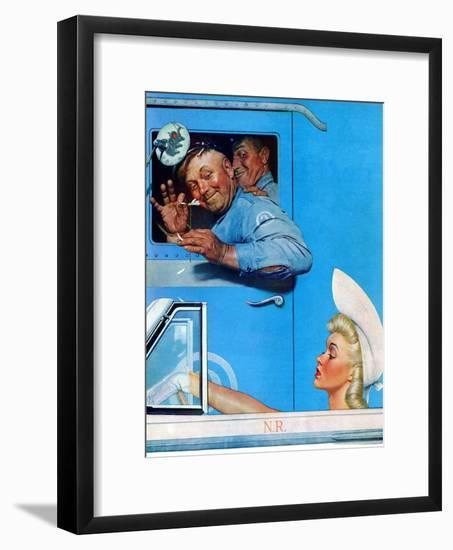 """""""Two Flirts"""", July 26,1941-Norman Rockwell-Framed Giclee Print"""