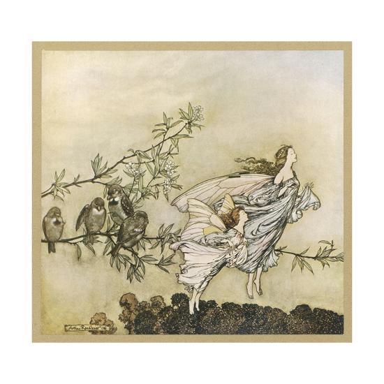 Two Flying-Arthur Rackham-Giclee Print