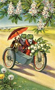 Two Frogs on Motorcycle with Umbrella and Flowers
