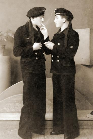 Two German Submariners Enjoying a Cigarette, C.1941--Photographic Print