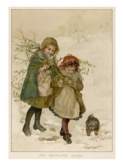 Two Girls Accompanied by a Small Dog Gather Holly and Mistletoe--Giclee Print