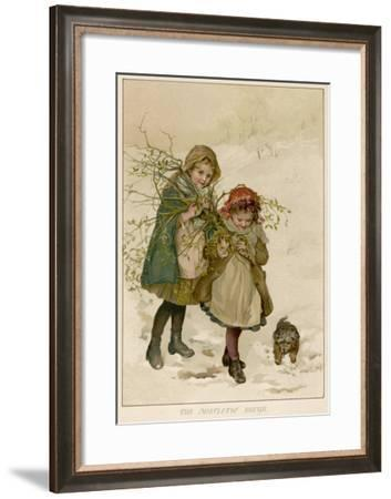 Two Girls Accompanied by a Small Dog Gather Holly and Mistletoe--Framed Giclee Print