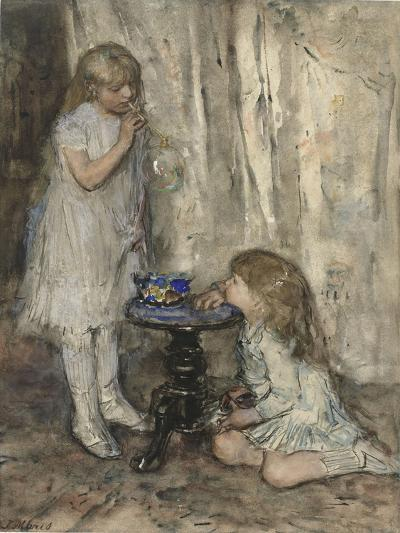 Two Girls Blowing Bubbles, c.1880-Jacob Henricus or Hendricus Maris-Giclee Print