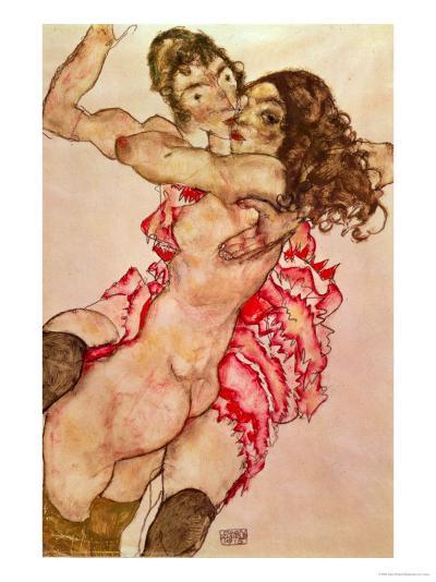 Two Girls Embracing, 1915-Egon Schiele-Giclee Print