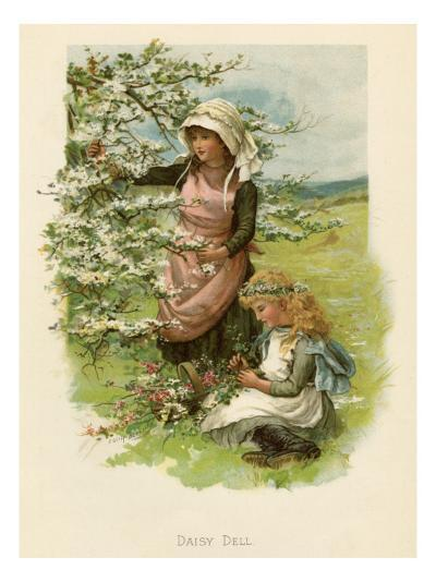 Two Girls in a Meadow, Picking Wild Flowers--Giclee Print