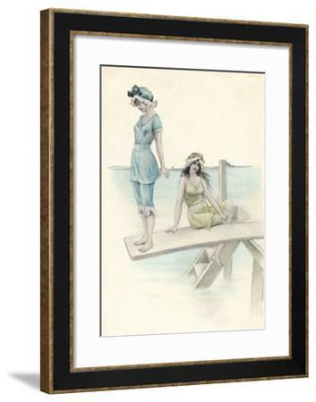 Two Girls in Bathing Suits One About to Dive into the Sea from a Diving Board--Framed Giclee Print