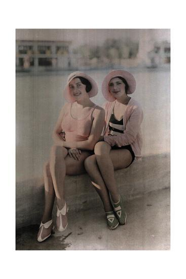 Two Girls in Bathing Suits Sit on a Concrete Ledge-Wilhelm Tobien-Photographic Print