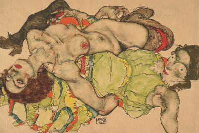 Two Girls Lying Entwined, 1915-Egon Schiele-Giclee Print